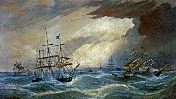 Ships off Liverpool in the Great Storm of 1839