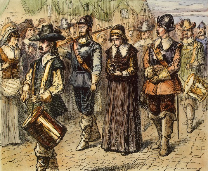 Mary Dyer being marched to her death by hanging