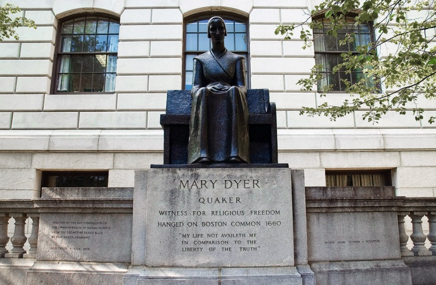 A bronze statue of Dyer by Quaker sculptor Sylvia Shaw Judson stands in front of the Massachusetts State House in Boston.