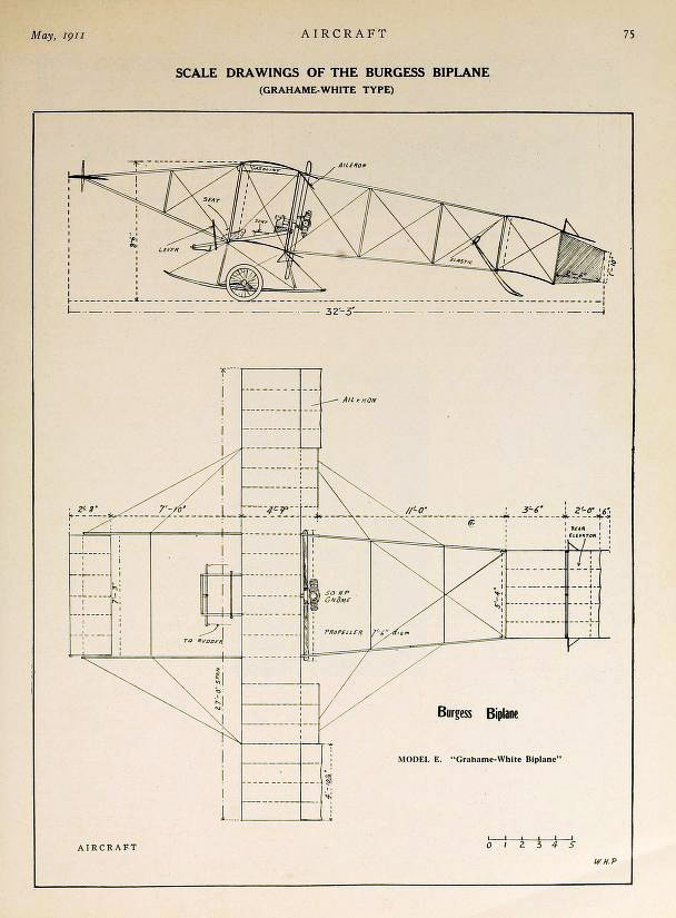 Drawing of the Burgess Biplane