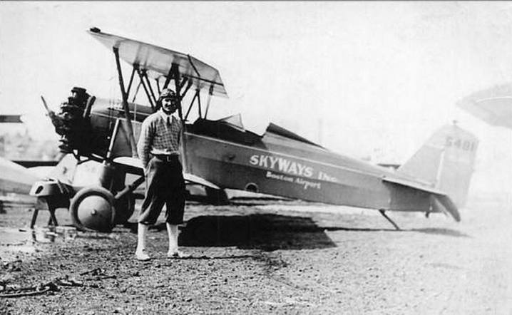 Crocker Snow in a biplane, early in his career