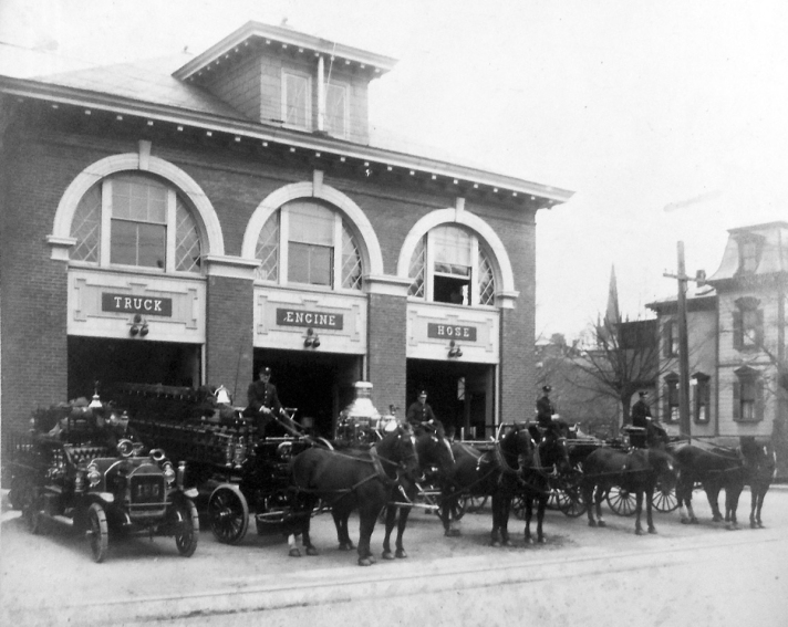Fire Dept. horse-drawn engines