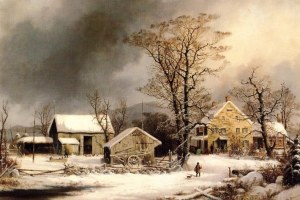 Portrayal of the cold day and a Winter scene by George Henry Durrie