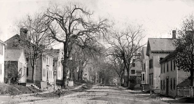 High Street looking toward North Main. Right Front: Caldwell house. On the right in the distance is the White Horse Inn.