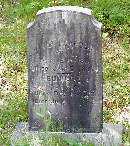 John and Eunice Peabody are buried at the Old Linebrook Cemetery