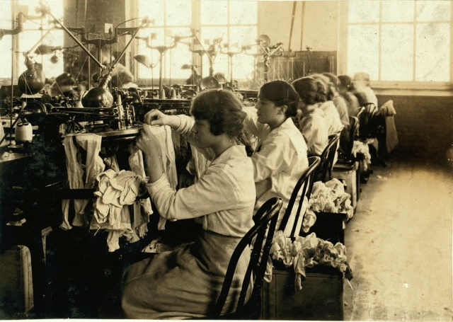 Continuing education school girls working in the Ipswich Mills, Boston factory.
