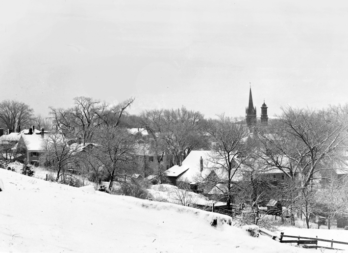 View of Ipswich Town Hill in the Winter from the hill