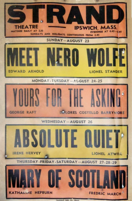 Meet Nero Wolfe, Yours for the Asking, Absolute Quiet, Mary of Scotland