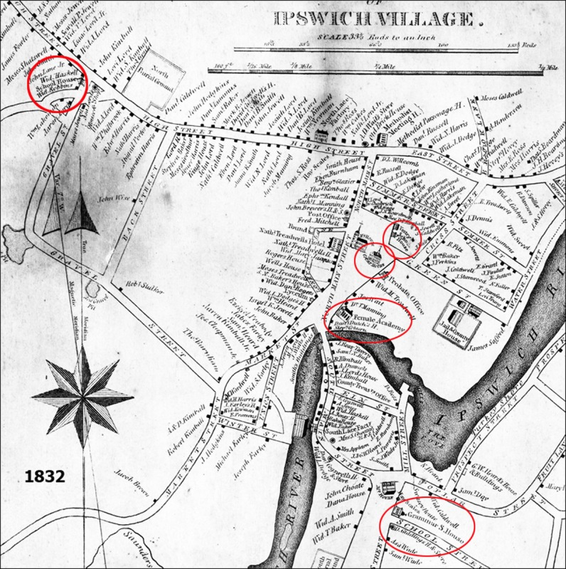 The 1832 Ipswich maps shows schools at Lords Square, South Green, Argilla Rd., Candlewood Rd., and Waldigfield Rd. The Linebrook School also was shown but is not in this view.