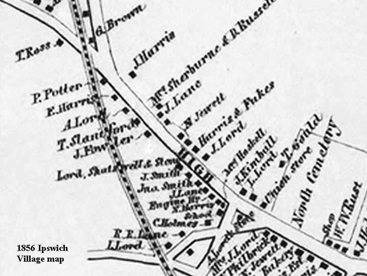 The 1856 Ipswich village map shows J. Lord at the same location.