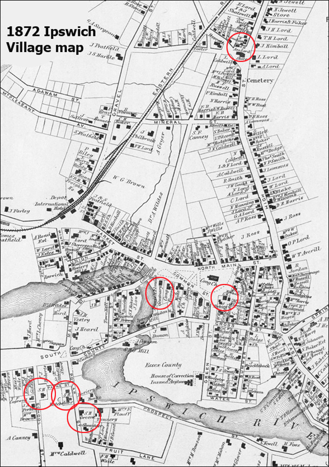 The 1872 Village map has the public schools marked simply SH (circled in red). There are now three separate school houses near the South Green (School House Green). The Payne School at Lords Square has not yet been moved to its current location. The Ipswich Female Academy is still operating. Central Street has been created but the Manning and Winthrop Schools do not yet exist.