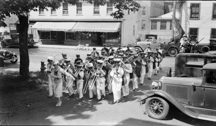 A band crossing South Main St.. Photo by George Dexter