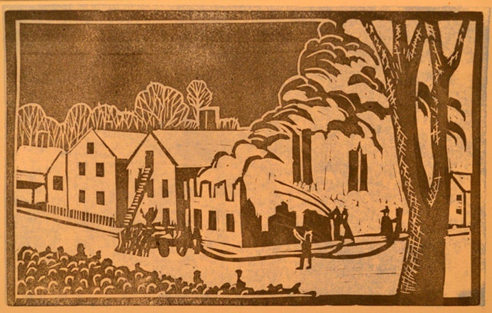 Block prints from the 1950 IHS calendar: Old Time Ipswich
