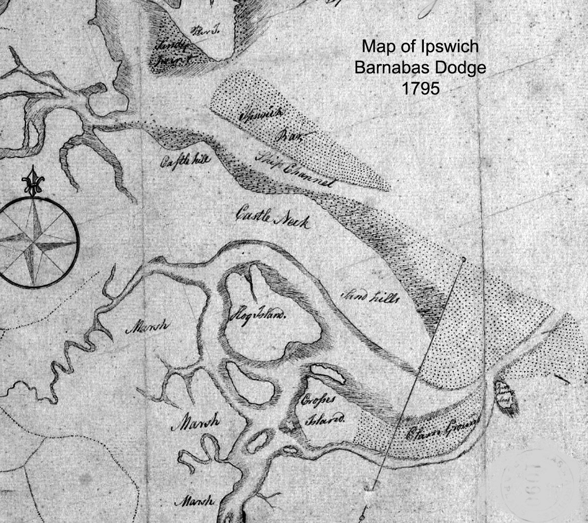 Castle Neck map Section from the 1795 map of Ipswich by Barnabas Dodge.