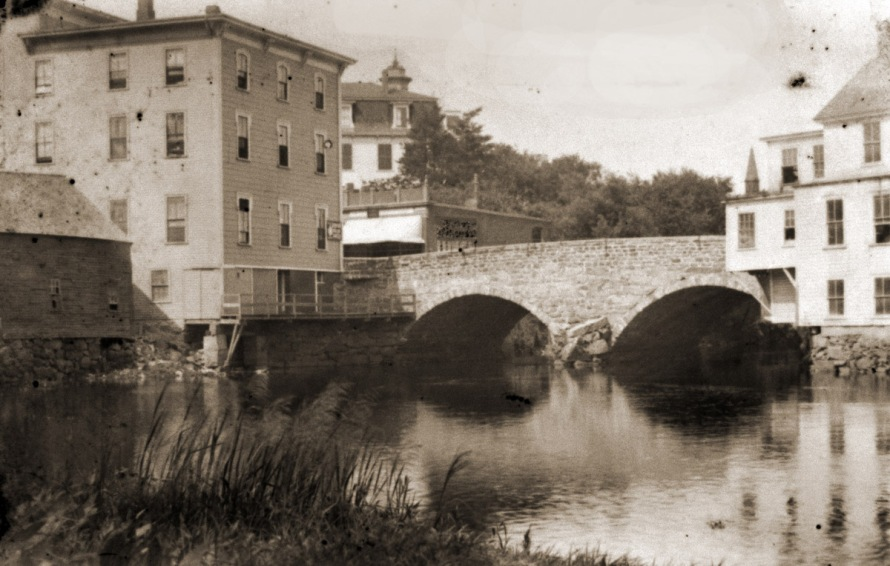 The Choate Bridge, with the Caldwell Building on the left and the Ipswich Female Seminary beyond it.