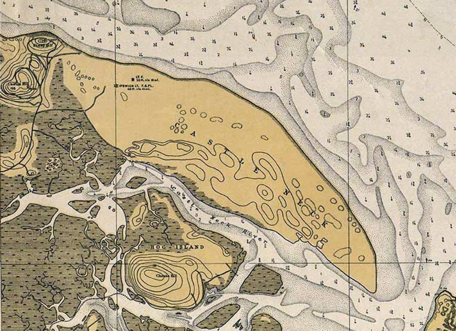 Nautical map of Ipswich Bay, 1912