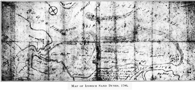"""""""Map of Castle Neck With Ye Adjacent Sea..,"""" produced by P. B. Dodge, April 3, 1786."""