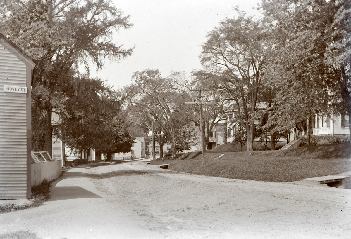Corner of East and Hovey St. in the early 20th century