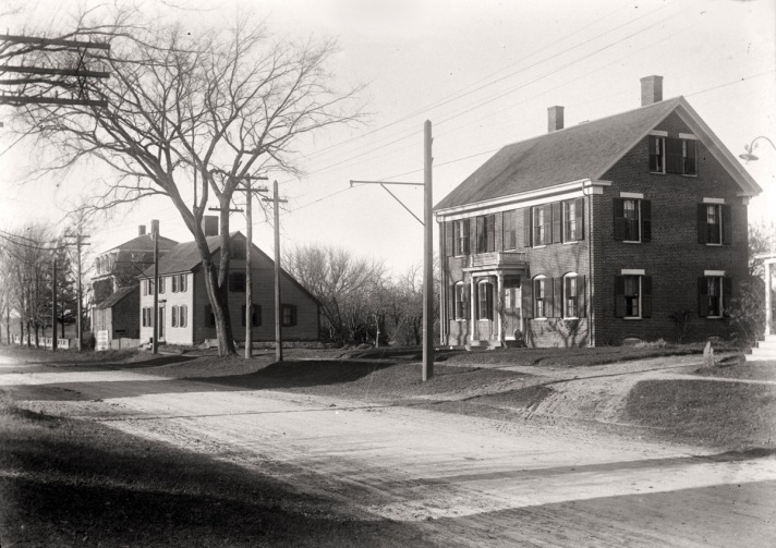 High St. houses that once stood where the High St. bridge is now by George Dexter