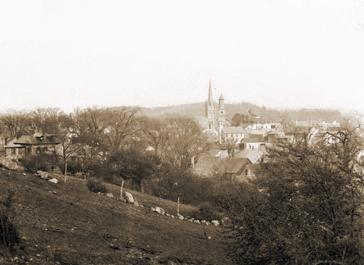 Town Hill view of the steeples  by George Dexter