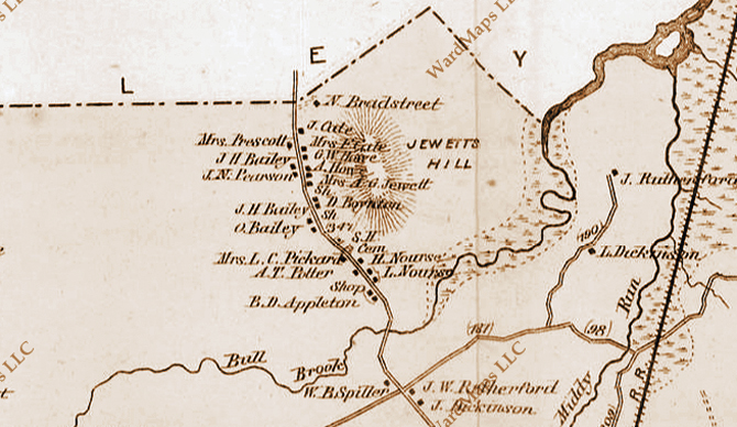 Ipswich Village in the 1872 town map