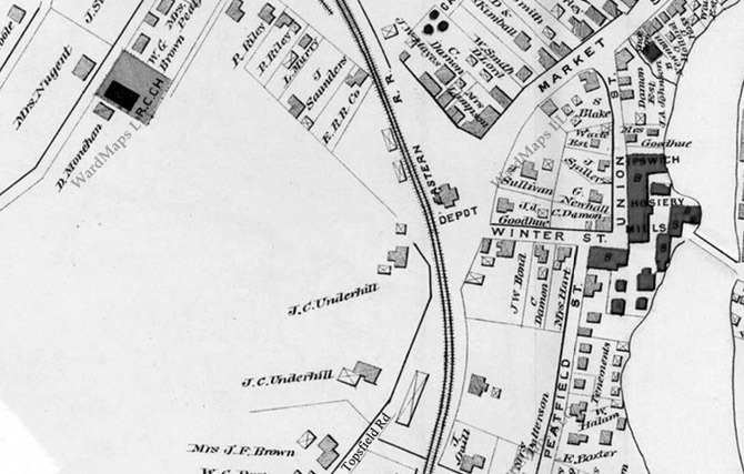 The Lafayette Street neighborhood did not exist in this 1884 map of Ipswich.