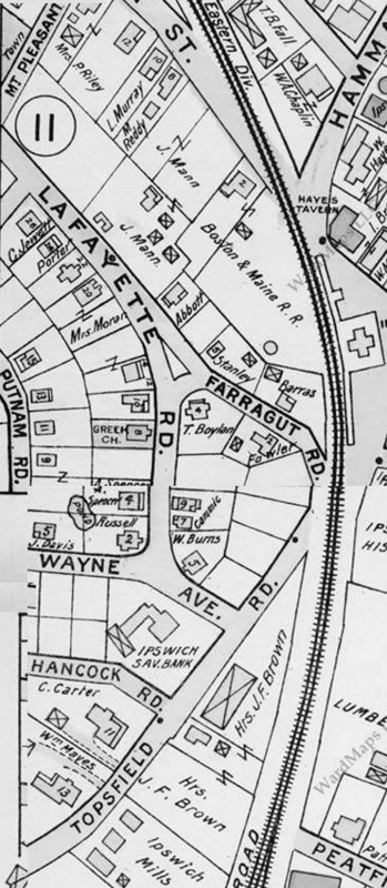 1910 Ipswich Ma map showing Lafayette, Farragut Streets and Wayne Avenue