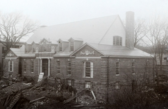 Memorial Building on Central St. under construction. Photo by George Dexter