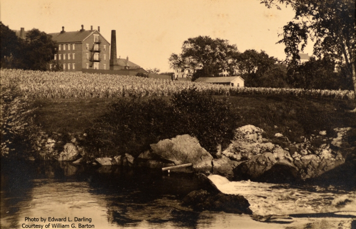 "William J. Barton wrote, "" The picture is the Ipswich House of Correction, and in the foreground is the lower dam, that furnished water power to a grist mill, in my time called Damon's Mill and Carter's Mill. The House of Correction was torn down and on the site was built the new Ipswich High School, which opened in September 1933."" Photo by Edward L. Darling"
