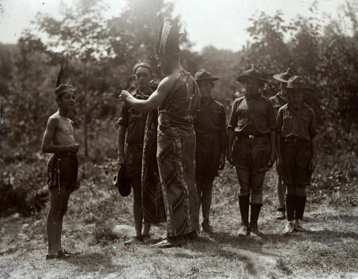 """Scouts and """"Indians"""". Photo by George Dexter"""