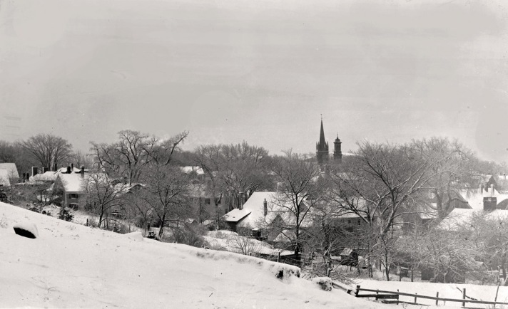 Town Hill view of two steeples. Photo by George Dexter