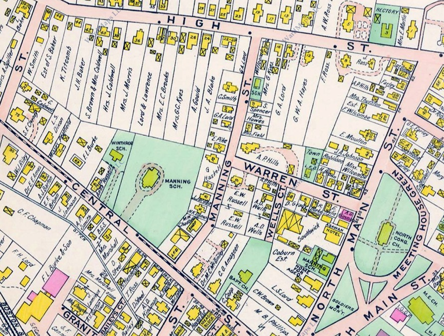 The locations of Winthrop and Manning Schools are shown in this closeup from the 1910 Ipswich town map