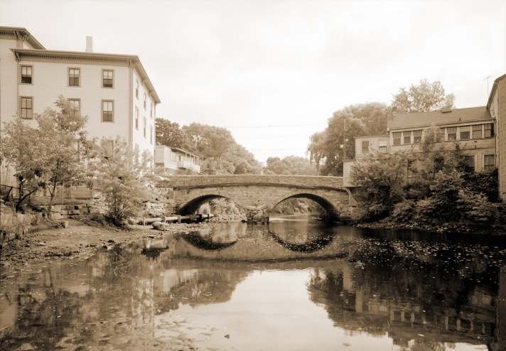 The Choate Bridge. On the right is the building that was Emmie's Bridal Shop