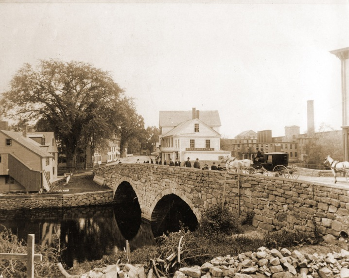 The Choate Bridge, from the northeast riverbank. Many people remember the building on the right as Bill's store.