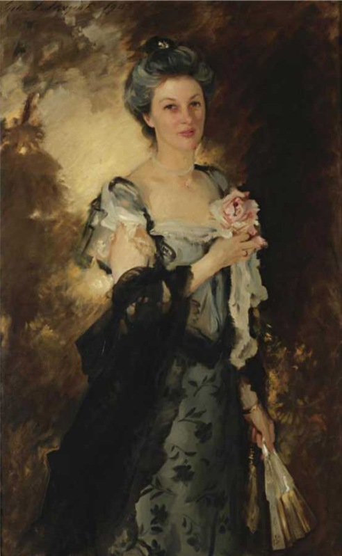 Mrs. William Crowninshield Endicott Jr., painted by John Singer Sargent in 1907 at her Marlborough Street home in Boston. She and her husband were the last Peabodys to live at Glen Magna. (sothebys.com)