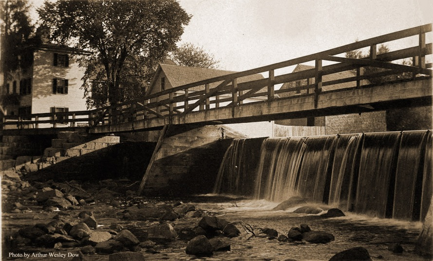 Footbridge from South Main to the Mill, circa 1900. Photo by Arthur Wesley Dow.