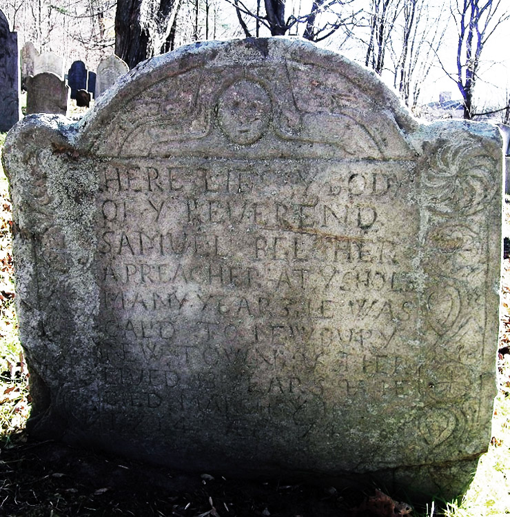 Tombstone of Rev. Samuel Belcher at the Old North Burying Ground