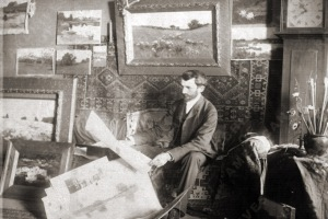 Arthur Wesley Dow in his studio in Ipswich on Spring Street