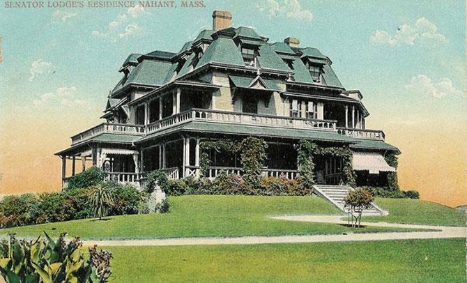 Postcard of the Lodge Estate overlooking the Atlantic Ocean in Nahant where Cabot was born and spent much of his childhood. (photo courtesy: Nahant Historical Society)