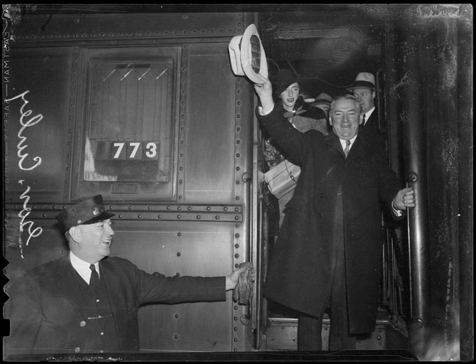 James Michael Curley canvassing Massachusetts in the 1936 US Senate race against Henry Cabot Lodge. (photo courtesy: BPL Leslie Jones Collection)