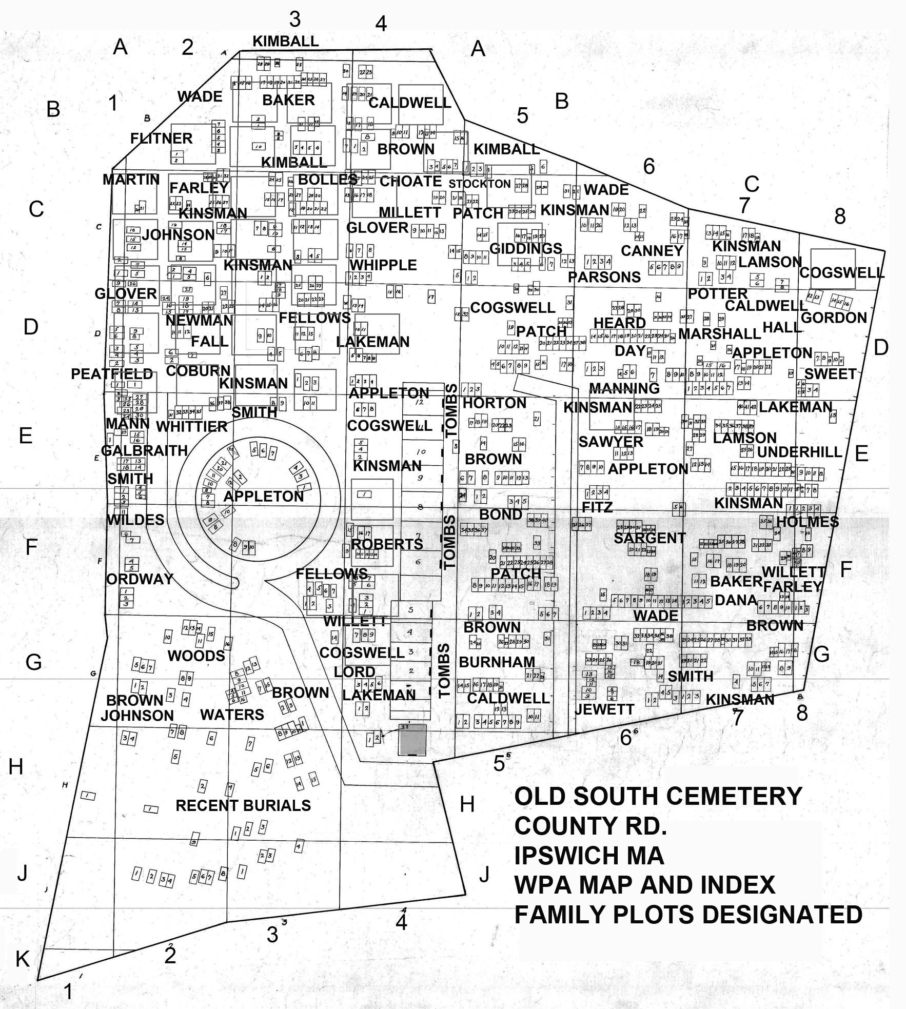 Ipswich Old South Cemetery map