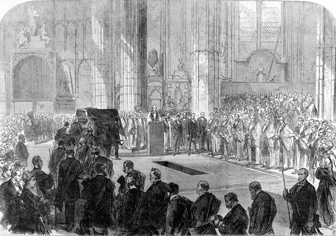 George Peabody's funeral ceremony in London's Westminster Abbey, before his body was ceremoniously shipped home for burial. (photo courtesy: newworldencyclopedia.org)