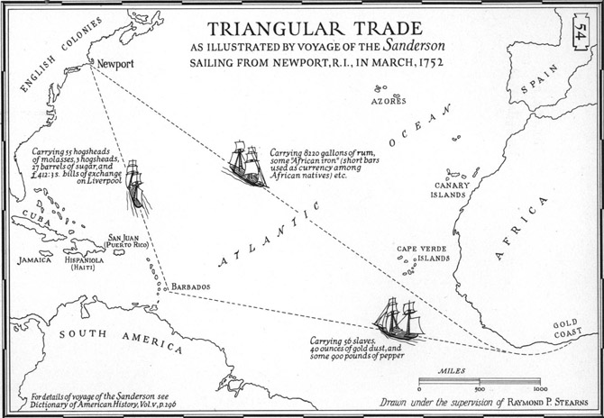 """Rum was a crucial element in the """"Triangular Trade """" that brought slaves to America."""