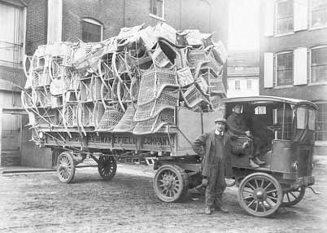 Heywood-Wakefield wicker chairs ready for delivery in the early 20th century. (photo courtesy: wakefieldhistory.org)