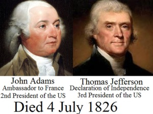 Adams and Jefferson died on July 4, 1826
