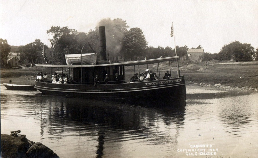 The excursion boat Carlotta was built in 1878 at Rogers Point Boar Yard at the end of Agawam Avenue, and sailed from the Town Wharf to points on the Neck and Plum Island for 35 years. From Brown's Wharf, the steamer Carlotta, a local steamboat owned by Nathaniel Burnham and Charles W. Brown sailed daily and carried passengers on the Ipswich River and Parker River. The Carlotta also was used as a tug boat for towing vessels up and down the river. The Carlotta carried 200 passengers with Captain Burnham as captain, plus an engineer and deck hand. Her stops on the daily trip were at Little Neck for 10 cents. The Ipswich Bluffs, 15 cents, Grape Island 20 cents, and the complete round trip to the Parker River at Newbury for 40 cents.It was very pleasant, about 12 miles.