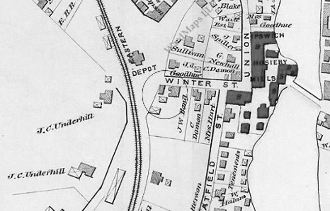Closeup from the 1884 Ipswich town map