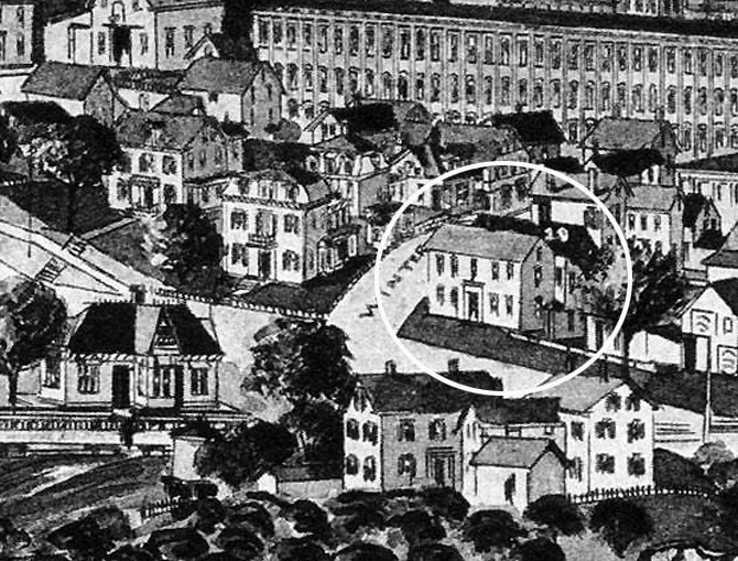 Closeup from the 1884 Ipswich Birdseye map. Saltonstall Street was known as Winter St. at that time.