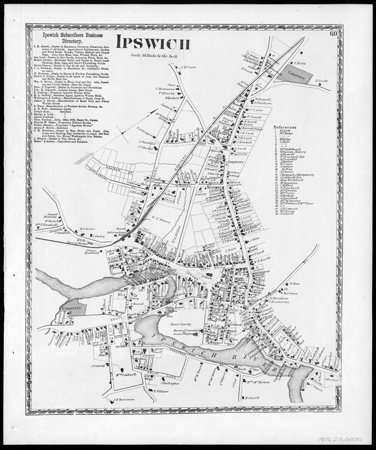Historic And Interactive Maps Of Ipswich 2nd Judicial Circuit Historical Society 1872 Village Map