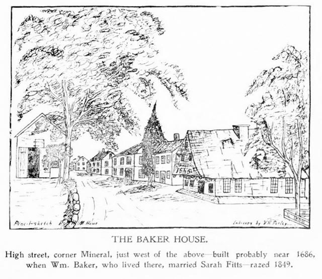 The old straw-roofed Baker house that once stood on High Street